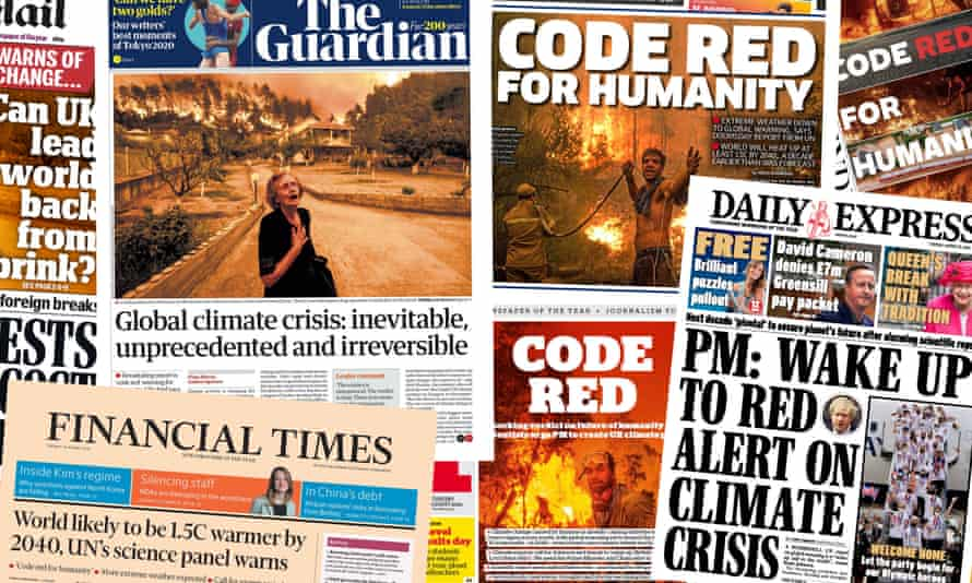 UK papers' front pages following the release of the IPCC report