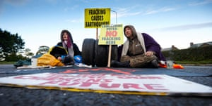 Protestors locked-on with tyres and concrete, blocking the main Preston to Blackpool A road