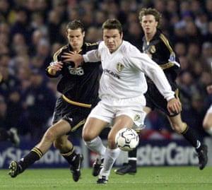 Mark Viduka playing for Leeds against Real Madrid at Elland Road.