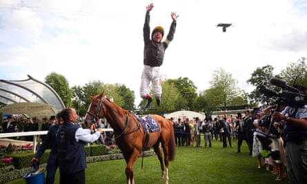 Frankie Dettori makes a flying dismount from Stradivarius after winning the Gold Cup on day three of last year's Royal Ascot.