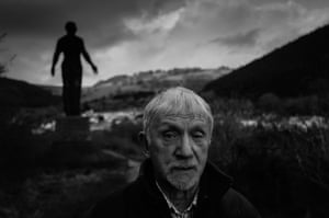 Owen Tucker, 82, at the site of The Guardian, a 20- metre-high memorial statue of a miner that looks out over the former site of the Six Bells colliery near Abertillery, Blaenau Gwent. Tucker helped carry out miners during the infamous underground explosion at Six Bells in 1960 when 45 miners died