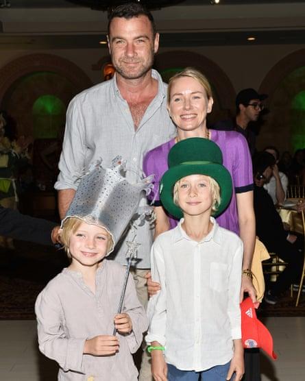 Naomi Watts with ex-partner Liev Schreiber and their sons