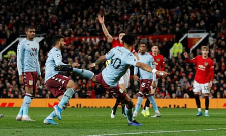 Tyrone Mings scores Aston Villa's equaliser in a game where the visitors took the lead first against Manchester United.