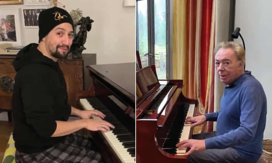 Play-off accepted … Lin-Manuel Miranda and Andrew Lloyd Webber.