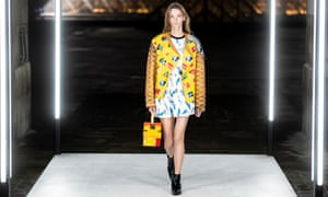 A read jacket on the Louis Vuitton catwalk