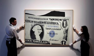 Andy Warhol's Silver Certificate at Sotheby's auction house in London.
