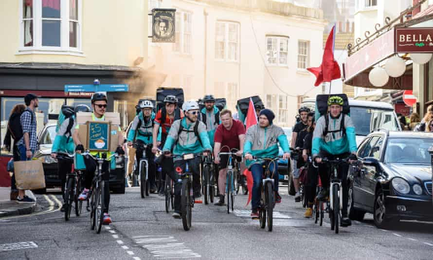 Deliveroo riders in Brighton protest for a living wage