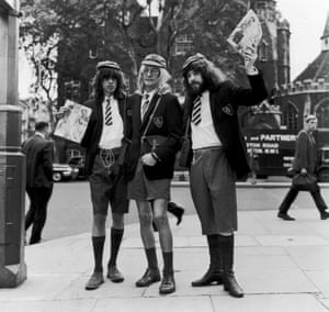 Richard Neville with Felix Dennis and James Anderson producers of the magazine Oz in London in 1970.