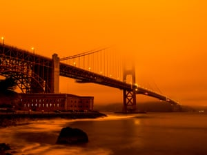Golden Gate Bridge Engulfed in Forest Fire Smoke, in the landscape colour category