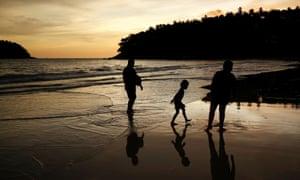 An almost empty Kata beach as Phuket reopens to overseas tourists.