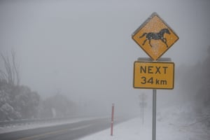A blizzard moves across the Kosciuszko National Park on the Snowy Mountains Highway near Kiandra on Thursday.