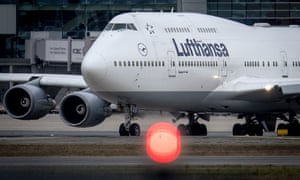 A Boeing 747 of Lufthansa rolls over the runway at the airport in Frankfurt, Germany.