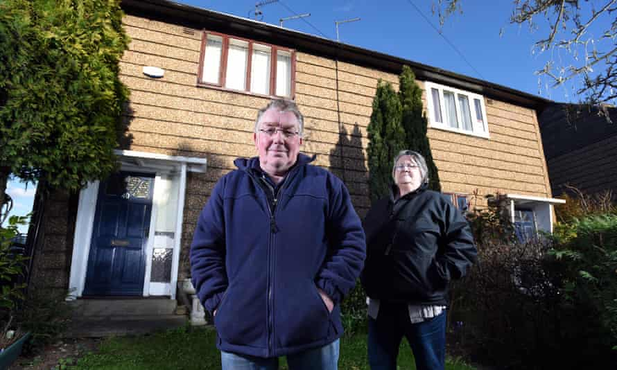 Barry and Mavis Mavis Abbey and her husband Barry outside their Airey house in Oulton, near Leeds.