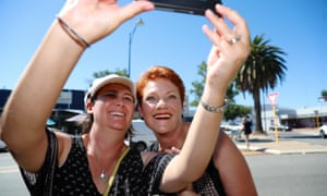 One Nation leader Pauline Hanson has a picture taken with a Western Australian voter while campaigning in the WA election in March.