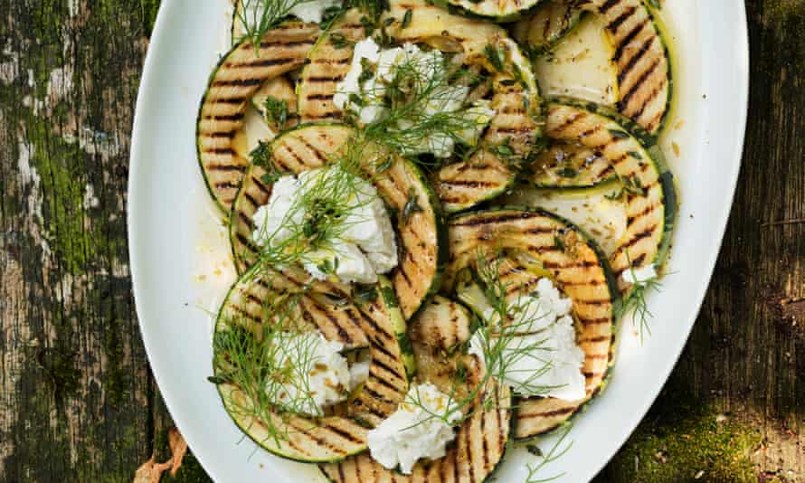 Gourd intentions: grilled marrow with fennel seeds, lemon and ricotta.