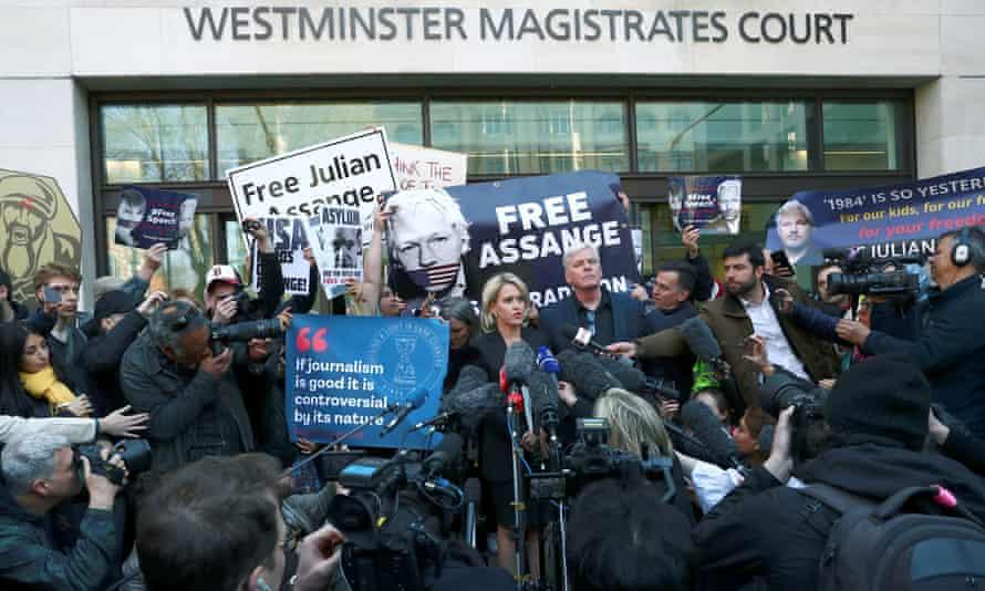 The scene outside Westminster magistrates court on Thursday.