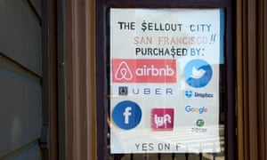 A sign supporting Proposition F to restrict short-term rentals via companies such as Airbnb in San Francisco