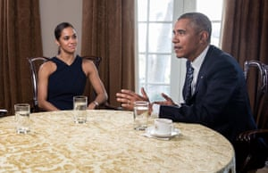 Misty Copeland in discussion with President Barack Obama in 2016.