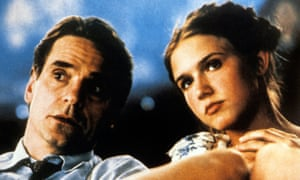 Jeremy Irons as Humbert Humbert and Dominique Swain as Lolita in the 1997 film adaptation of Nabokov's novel.