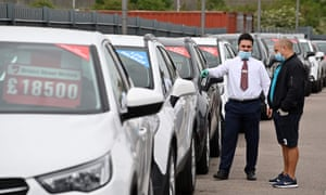 The forecourt of a recently re-opened Vauxhall car dealership in north London last month
