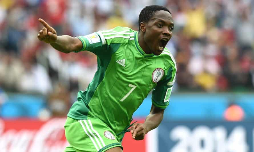 Ahmed Musa celebrates scoring for Nigeria against Argentina during the 2014 World Cup in Brazil