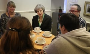 Theresa May during her visit to the Wellbeing Centre in Aldershot