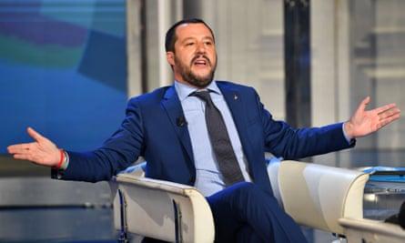 Matteo Salvini gestures as he speaks during an Italian TV talk show.