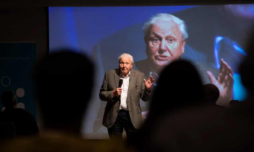 Sir David Attenborough addresses the first citizens' assembly on climate change in Birmingham