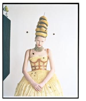 Elza Luijendijk in Alexander McQueen's honeycomb dress with Plexiglas harness and necklace. Tim Walker, Honey-Do, March 2013