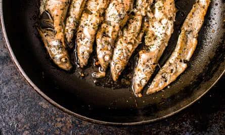Sprats in a frying pan