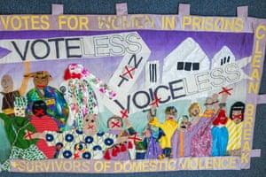Banner by Clean Break, London, working with artist Miriam Nabarro