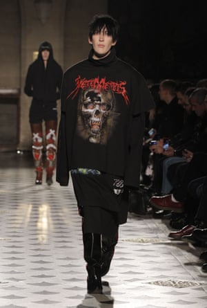 Heavy metal font on the Vetements autumn/winter 2016 catwalk.