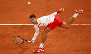 Novak Djokovic returns to Mikael Ymer.