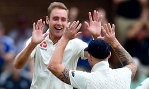 Stuart Broad celebrates the wicket of Vernon Philander.
