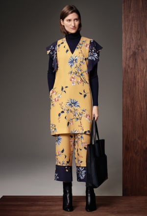 Floral print is given a tougher edge paired with sharp black pieces.