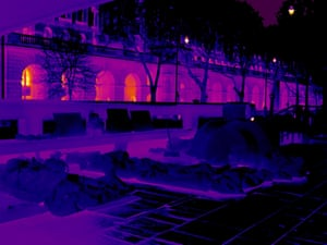 Under Waterloo Bridge the cold beds and tent of four friends can be seen in the foreground, and Somerset House glows with heat in the background. The platform they live on has incredible views of the river, but the council are trying to get an Asbo to have them removed, even though they keep it tidy and keep to themselves. Recently someone threw a shopping trolley at them while they slept. There are regular attacks.