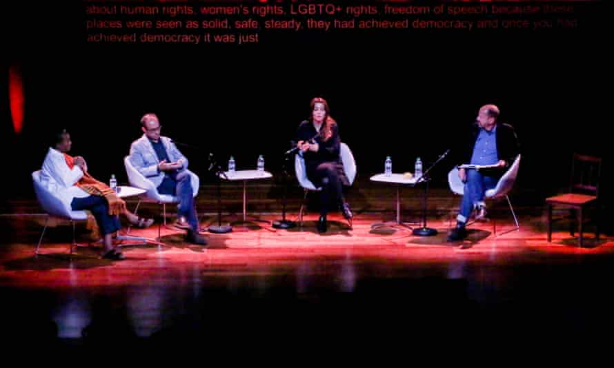 From left to right: Adjoa Andoh, Burhan Sonmez, Elif Shafak and Philippe Sands at the UK's PEN Centenary in September at the Southbank Centre.
