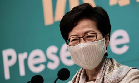 Hong Kong chief executive Carrie Lam speaks during a press conference on Tuesday.