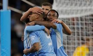 City celebrate Jesus scoring their 6th goal.