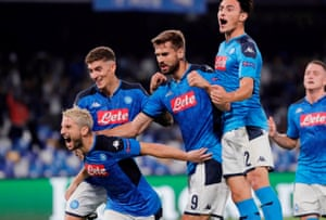 Napoli's Dries Mertens celebrates scoring their first goal with teammates.