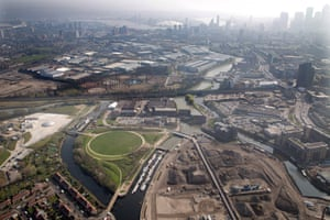 The Lea River Park from the air, showing its knot of waterways and mixed use for industry and housing.