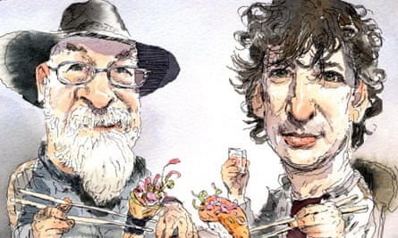Terry Pratchett and Neil Gaiman illustration