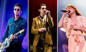 Mercury nominees (L-R): Noel Gallagher, Arctic Monkeys' Alex Turner, Florence Welch.