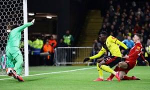 Watford's Ismaila Sarr scores their first goal.