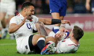 England's George Ford celebrates scoring the equalising try with Ben Te'o.