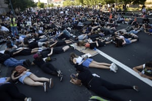 Protestors lie down in protest in San Mateo, California