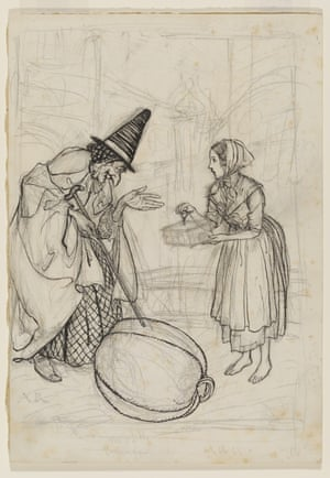Cinderella and the Fairy Godmother, by Arthur Rackham, in pen and ink and pencil, 1919
