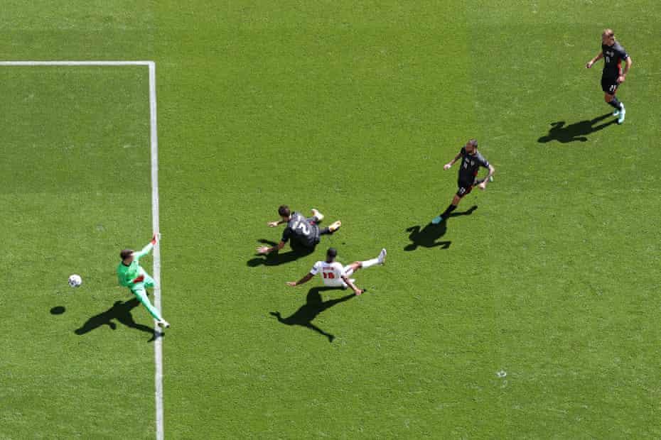 Raheem Sterling scores in the opener against Croatia