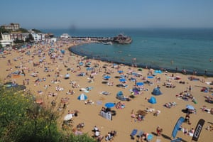 A busy beach in Broadstairs, Kent
