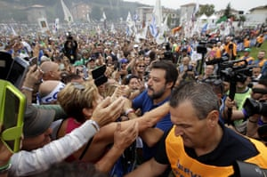 Matteo Salvini, leader of the League, is cheered by supporters at a party rally in the Lombardy town of Pontida, Italy, after he was ousted as the country's leader last week